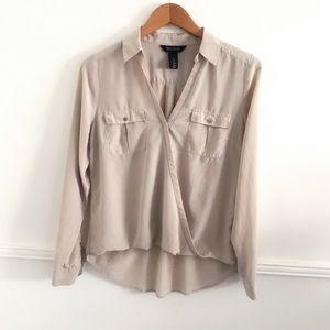 WHBM 12 Long Sleeve silk top
